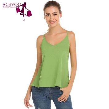ACEVOG Women Sexy Tanks Tops Summer Solid Lace-up Loose Strappy Backless Sleeveless Cami Vest Top Pullovers