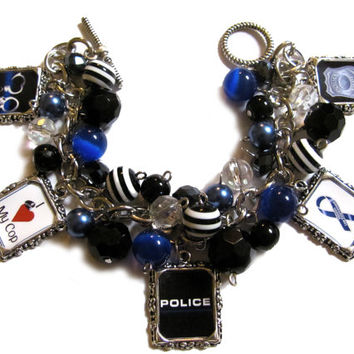 Police Wife/Girlfriend Altered Art Charm Bracelet Blue Black Striped
