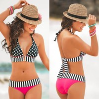Ca.Qi Retro High Waist Fringe Vintage Striped Bikini Plus Size Push Up Bandage Swimsuit Strap Top Bathing Swim Polka Dots Pink