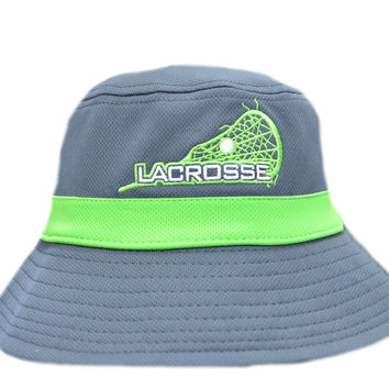 Graphite and Neon Green Lacrosse Bucket Hat