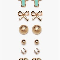 A'GACI Heart/Bow/Cross/RS Stud Multi Pack Earring - Accessories