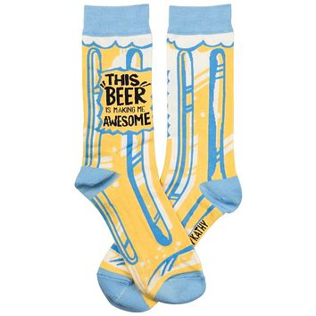 This Beer Is Making Me Awesome Socks in Light Blue and Yellow