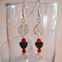 "Beautiful Pierced Earrings Hematite ""Endless Love"""