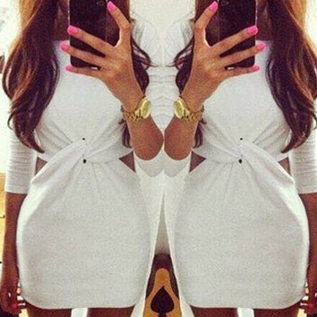 White Cut-Out Twist Waist Mini Dress