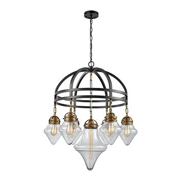 16461/7 Gramercy 7 Light Chandelier In Oil Rubbed Bronze With Classic Brass Highlights And Clear Glass