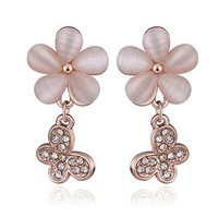 MLOVES Women's Classical Korean Style Flower Opal Ear Cuffs