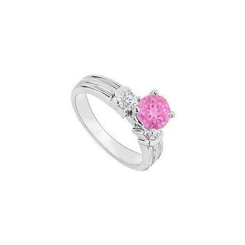 14K White Gold : Pink Sapphire and Diamond Engagement Ring 0.75 CT TGW