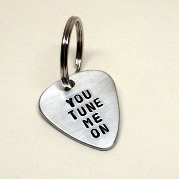 Ready to Ship, Guitar Pick, Funny, Metal, Keychain, Key Ring, Charms, Pendant, Accessory, Gifts, Music Festival, Music Lover