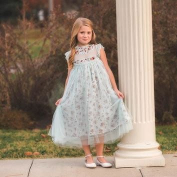 Magnolia Vintage Vineyard Floral Blue Gray Tulle Ruffle & Tulle Smock Dress