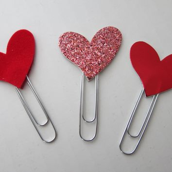 3 Heart Planner Clips, Glitter, Foil and Velvet Card Stock Holiday Bookmarks, St. Valentine's Day Paperclips, Accessory
