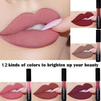12 Colors Matte Red Lip Liquid Lipstick Waterproof  Lip Tint Moisturizer Makeup Stick NudeGloss Cosmetics Lip Beauty Lip Colors