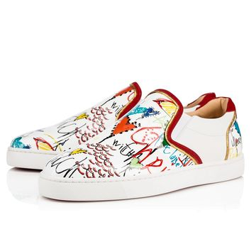 Christian Louboutin CL Sailor Boat Flat Version White Leather 18s Sneakers Best Deal Online