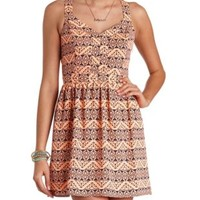 Tribal Print Cage Back Dress by Charlotte Russe - Coral