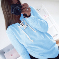 Autumn Clothing Lace Up Sweatshirt Women Tops Pleated Long Sleeve Pink Cotton V Neck Winter Sweatshirt Warm Hoodies Girl = 9927295046