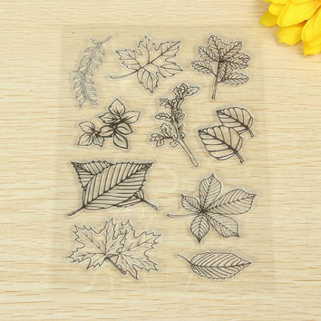 1pcs Scrapbook DIY Photo Album Account Transparent Leaf Silicone Rubber Clear Stamp Seal Cling Set Scrapbooking Craft Diary Card