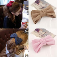 2016 New Big Bowknot Barrette Korean Style OL Hairclips Multi 7 Colors Girl Women Super Beauty Fabric Fashion Hair Accessories