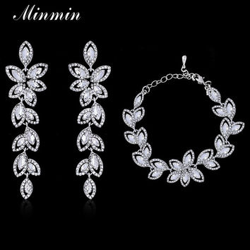Minmin Leaf Crystal Jewelry Sets Bridal Bracelets Earrings Sets African Beads Jewelry Sets Prom Wedding Jewelry SL046+EH282