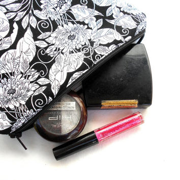 Black and White Flowers Makeup Accessory Bag - Floral Make Up Accessories Bag Pouch Clutch