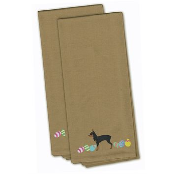Toy Fox Terrier Easter Tan Embroidered Kitchen Towel Set of 2 CK1690TNTWE