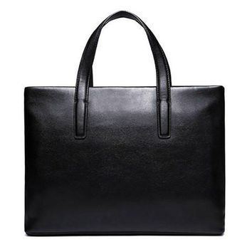 Concise Men's Briefcase With PU Leather and Black Design   Black