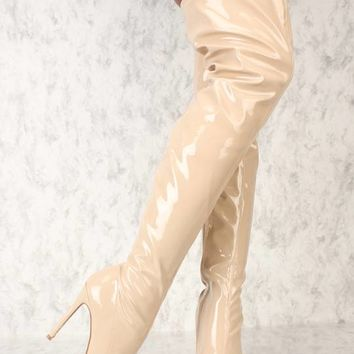 Sexy Nude Pointy Toe Thigh High Heel Boots Patent