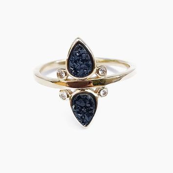 Gemstone Tear Drop Ring - Black Druzy