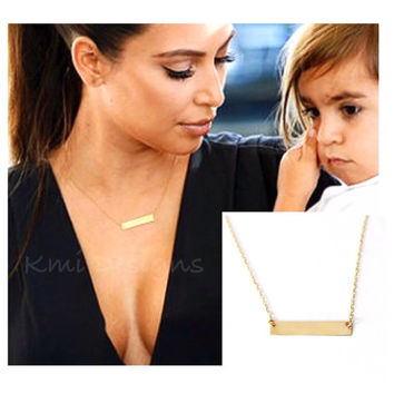 Gold Bar Necklace, SOLID 14K GOLD Bar Necklace, Kardashian Necklace