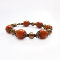Burnt Orange Beaded Bracelet, Vintage Beads, Chunky Bracelet, Swarovski Pearls, Antiqued Bronze Bead Caps, Autumn Winter Jewelry, Handmade