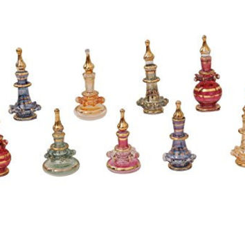 Egyptian perfume bottles Set of 10 extremely tiny hand Blown Decorative Pyrex Glass Vials Height 1 inch ( 2.5 cm ) by CraftsOfEgypt