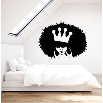 Vinyl Wall Decal African Hairstyle Girl Queen Crown Stickers (3362ig)