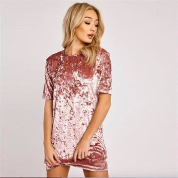 Spring Summer Dresses 3xl 2017 Fashion Plus Size Women Clothing Casual Short Sleeve O Neck Mini Pink Black Velvet Dress Vestidos