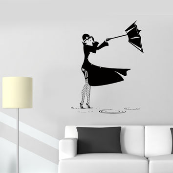 Wall Stickers Girl Puddle Rain Thunderstorm Wind Umbrella Vinyl Decal (ed503)