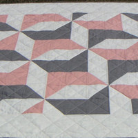 Contemporary Reversible Quilt, Lap Quilt, Nap Quilt, Bedding, Peach and Grey