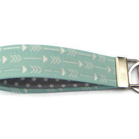 Mint green arrow wristlet key fob, wristlet keychain, key lanyard, wrist key chain, teacher gift, gift under 10, grey & mint, polka dot