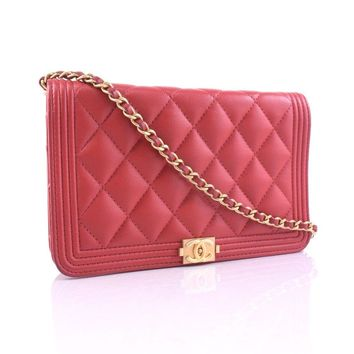 AUTHENTIC CHANEL Chain Wallet Shoulder Bag Red/gold/Soft caviar skin Women