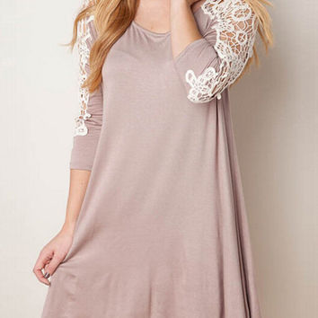 khaki Lace Half Sleeve A-Line Mini Dress