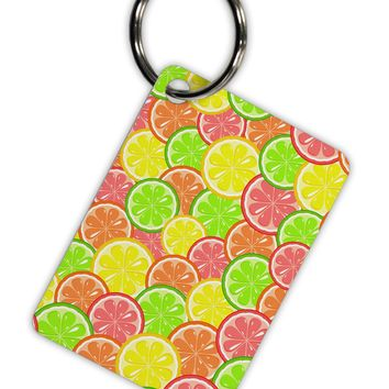 Colorful Citrus Fruits Aluminum Keyring Tag All Over Print