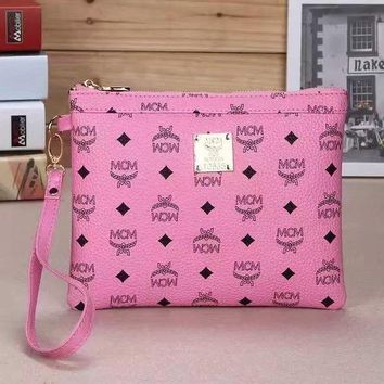 DCCKN6V MCM Trending Women Fashion Leather Tote Clutch Bag Handbag Satchel Pink G