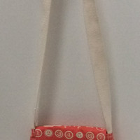 Small Messenger Bag - coral or melon - cute trendy type print - crossover purse
