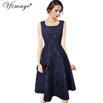 Vfemage Women Elegant Vintage Dobby Fabric Sleeveless Knee Length Work Party Cocktail Tea Fit and Flare Skater A-line Dress 7965