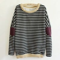Leisure Retro Stripe Cloth Sleeve Women's Sweater