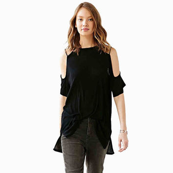 Black Criss-Cross Off The Shoulder Shirt