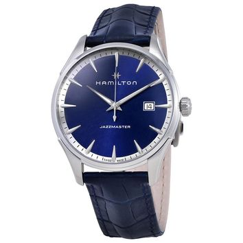 Hamilton Jazzmaster Blue Dial Mens Leather Watch H32451641