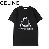 CELINE Summer New Fashion Letter Print Women Men Top T-Shirt Black