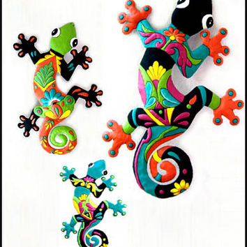 3 Hand Painted Metal Gecko Garden Wall Hangings, Tropical Wall Art