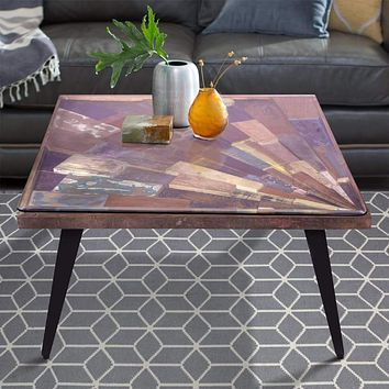 Square Wooden Coffee Table with Sunburst Design Glass Inserted Top, Multicolor By The Urban Port