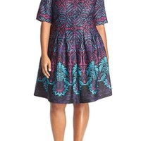 Gabby Skye Print Scuba Knit Fit & Flare Dress (Plus Size) | Nordstrom