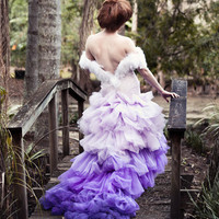 Aurora Ombre Purple Bridal Feather Couture Ricky Lindsay Gown Fashion Dress Wedding