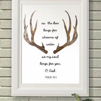 Deer Bible Verses psalm 42, Digital Art Download, Digital Drint, Canvas Art, Art Print, Large Painting, Instant Download, 8x10