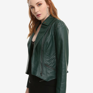 Her Universe Marvel Loki Green Faux Leather Girls Jacket